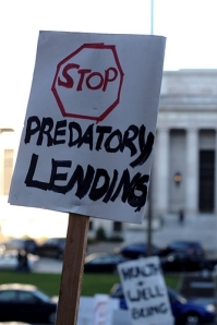 "sign calling for the state Legislature to ""Stop Predatory Lending"""
