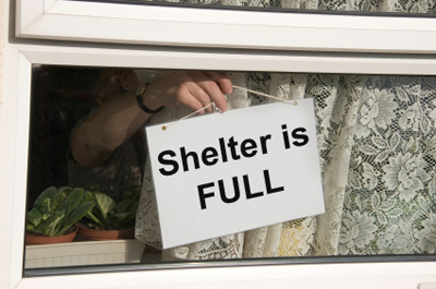 sign in window showing the Shelter is FULL