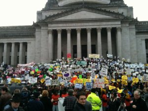 Washington citizens rally in Olympia in favor of increasing state revenue through taxes