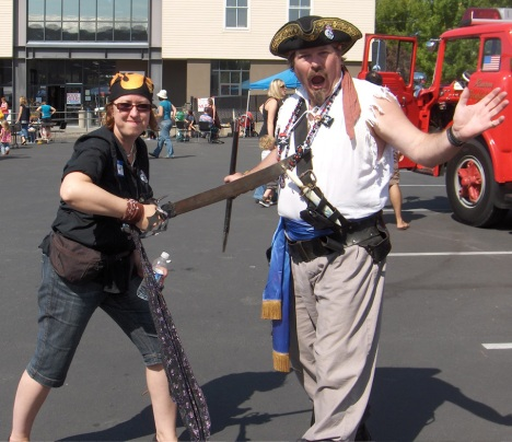 A pirate walks the plank at the 2009 Pirates & Pipsqueaks event