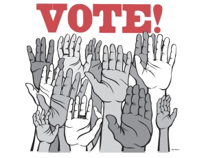 "hands in air ""voting"""