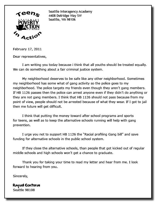 Application letter sample cover letter sample teenager for Advocacy letter template