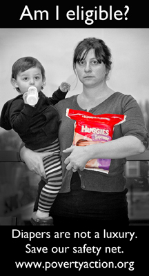 Women with diapers she cannot afford without assitance