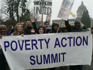 Poverty Action members march & rally in Olympia in 2012