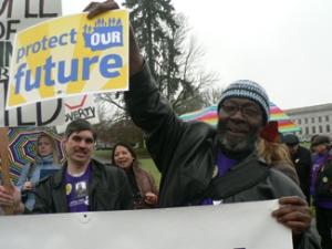 Justin & Timothy at rally, Lobby Day 2012