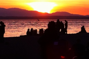 Recent image of a sunset at Golden Gardens Park where Mitch and friends had a bonfire