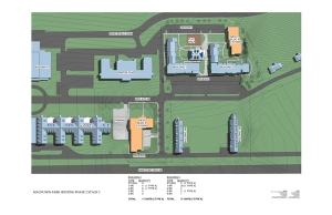 Site map showing locations of the new buildings