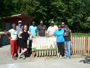 Community volunteers and Solid Ground Board Members at a Seattle Community Farm volunteer work party