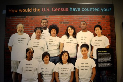 Image from RACE Exhibit of people wearing t-shirts describing their race classifications in the Census over time