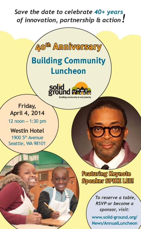Save the Date for Solid Ground's Building Community Luncheon, 4/4/14
