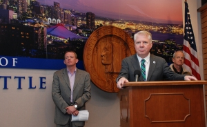 Mayor Mike Murray holds a press conference with co-chairs of the Income Inequality Advisory Committee, David Rolf of SEIU 775NW, and Howard Wright of Seattle Hospitality Group