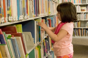 Five-year-old-girl at the library.