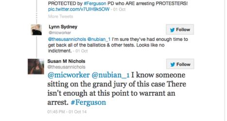 Screen shoot of tweets
