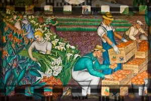 Image of migrant workers from Diego Rivera murals at San Francisco's Coit Tower.