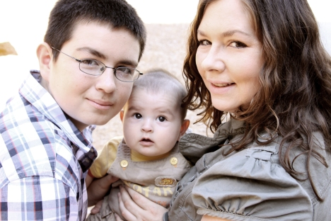 Alena Rogers, JourneyHome program participant, with her  two boys, Brian (left) &  Gabriel (center), in 2010