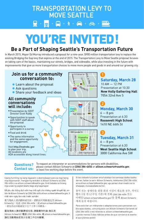 Transportation Levy to Move Seattle - Community Conversations flyer