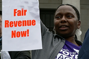 Protester calls for Fair Revenue in Washington State