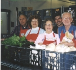 Dedicated food bank volunteers from the early years of the new building. Marge, 2nd from left, still volunteers at FamilyWorks!